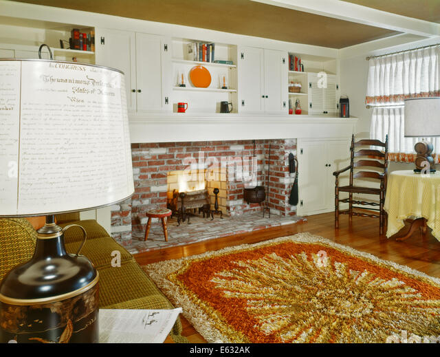 1960s INTERIOR OF LIVING ROOM WITH SHAG AREA RUG FIREPLACE