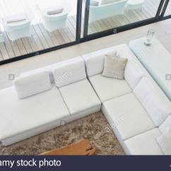 Angled Sectionals Sofas Custom Sofa Studio City High Angle View Of Sectional In Modern Living Room Stock Photo