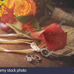 Chair Accessories For Weddings Chairs Seniors Wedding Rings And On Stock Photo 278180182 Alamy