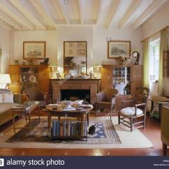 French Country Living Room How To Decorate My On A Budget Lloyd Loom Chairs And Comfortable Sofa In With White Painted Ceiling Beams