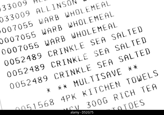Supermarket Till Receipt Stock Photos & Supermarket Till