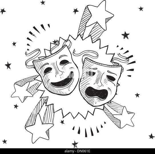 Theatre Masks Comedy Tragedy Stock Photos & Theatre Masks