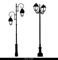 Silhouette Lamp Post Black and White Stock Photos & Images ...