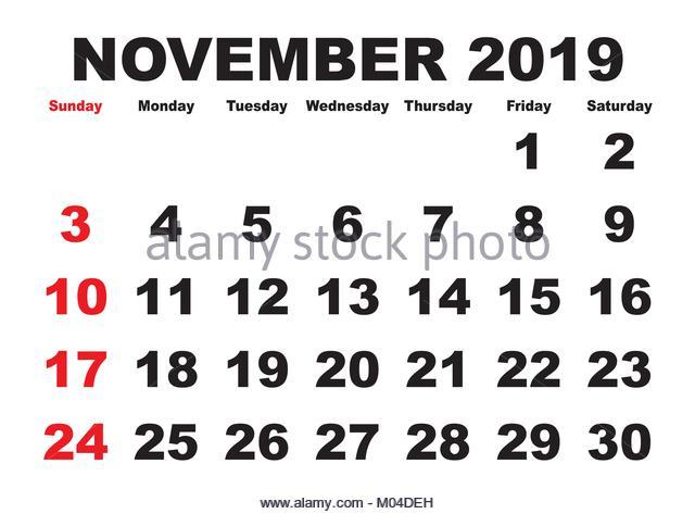 Simple 2019 Year Calendar Stock Photos & Simple 2019 Year