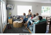 Family Tv Watching Game Stock Photos & Family Tv Watching ...