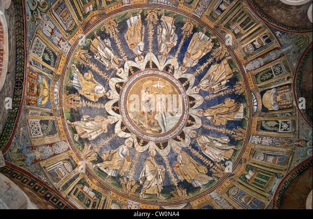Baptistery Ceiling Mosaic Stock Photos & Baptistery