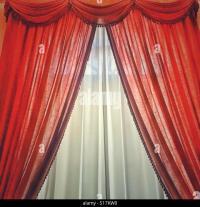 Drape Red Curtains Stock Photos & Drape Red Curtains Stock