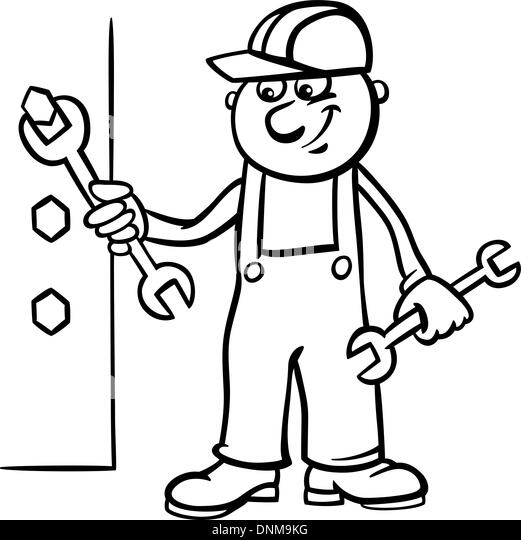 Mechanic Plumber Handyman Cartoon Character Stock Photos