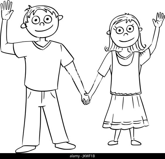 Boy And Girl Holding Hands Black and White Stock Photos
