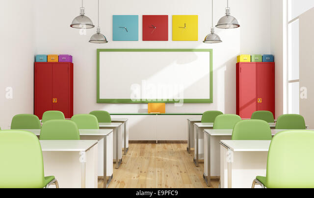 classroom organizer chair covers home depot camping chairs wall clock and whiteboard stock photos & images - alamy