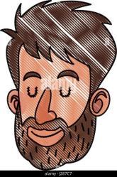 close drawing face cartoon beard eyes person alamy