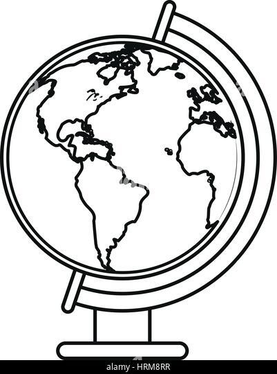 World Map Illustration Line Drawing Stock Photos & World