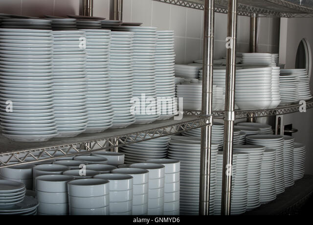Stacks Many White Plates Wire Rack Shelf Commercial