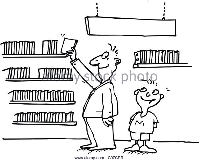 Cartoon Illustration Book Father Son Stock Photos