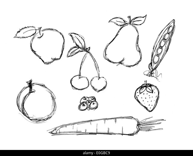 Strawberry And Apple Coloring Page Stock Illustration