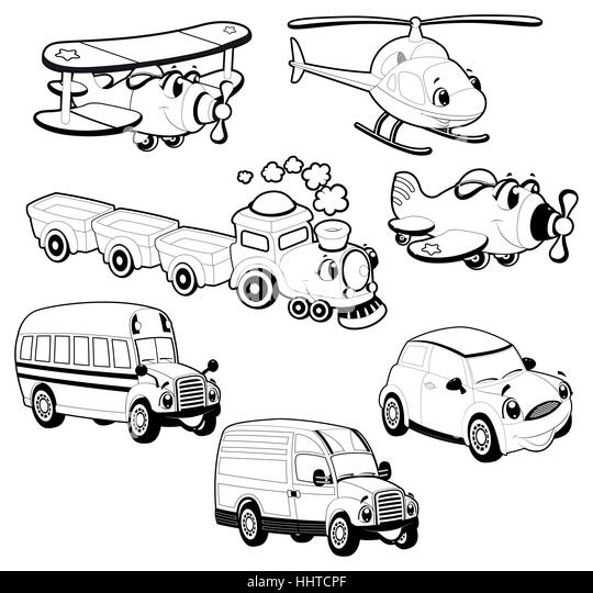 Cartoon Helicopter Black and White Stock Photos & Images