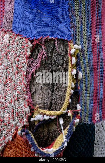 Yarn Bombing Knitted Artwork Stock Photos & Yarn Bombing