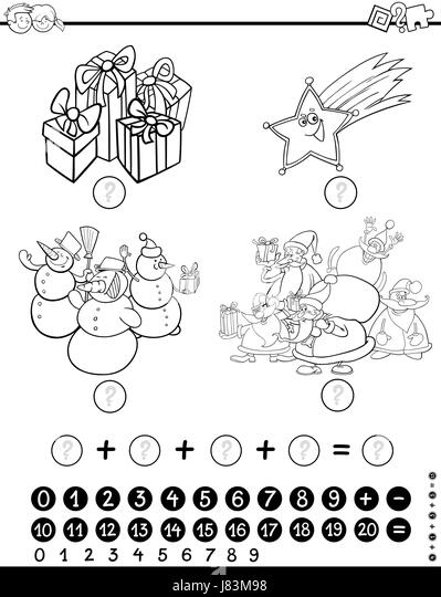 Cartoon School Objects Coloring Page Black and White Stock