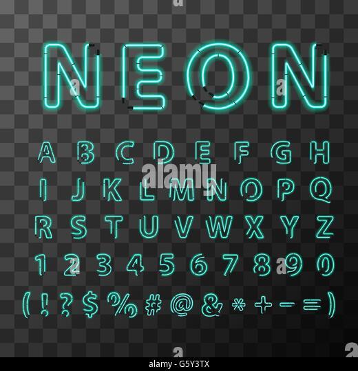 Realistic Neon Alphabet Stock Photos Amp Realistic Neon