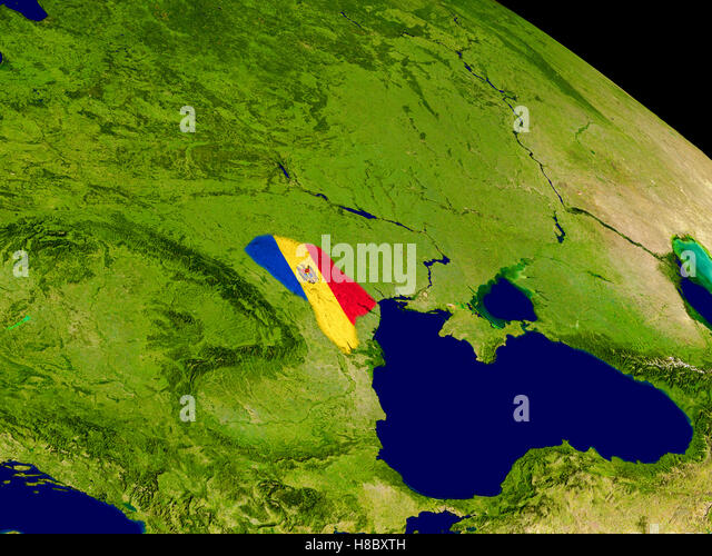 Map of Moldova with embedded flag on planet surface