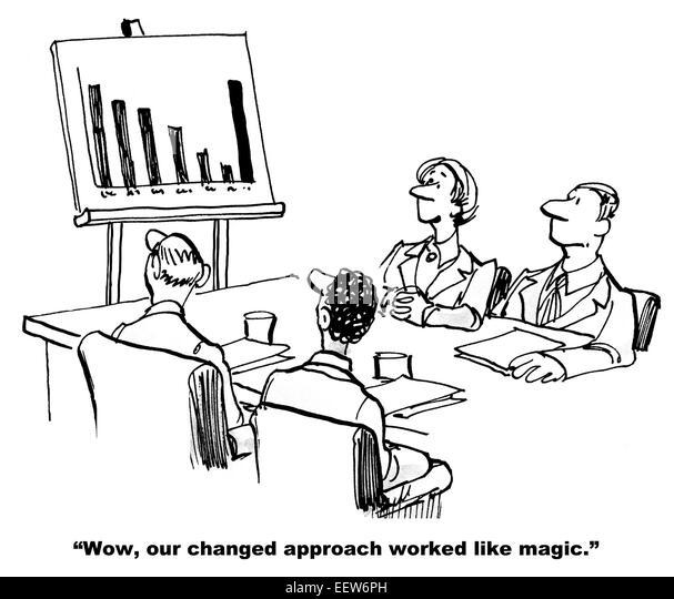 Cartoon Business Meeting Chart Showing Stock Photos