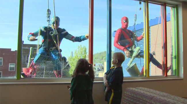 SpiderMan and his amazing friends volunteer at childrens