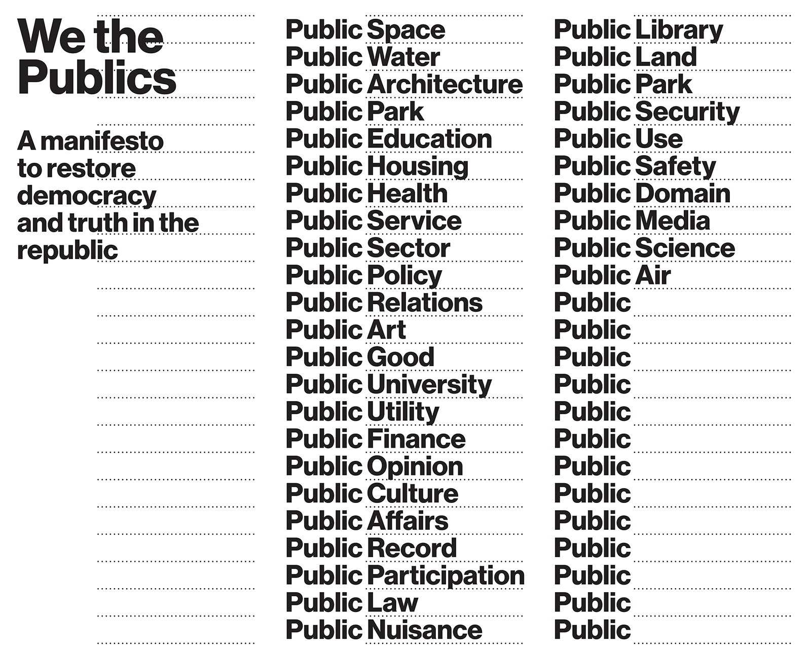 We the Publics: A manifesto to restore democracy and truth