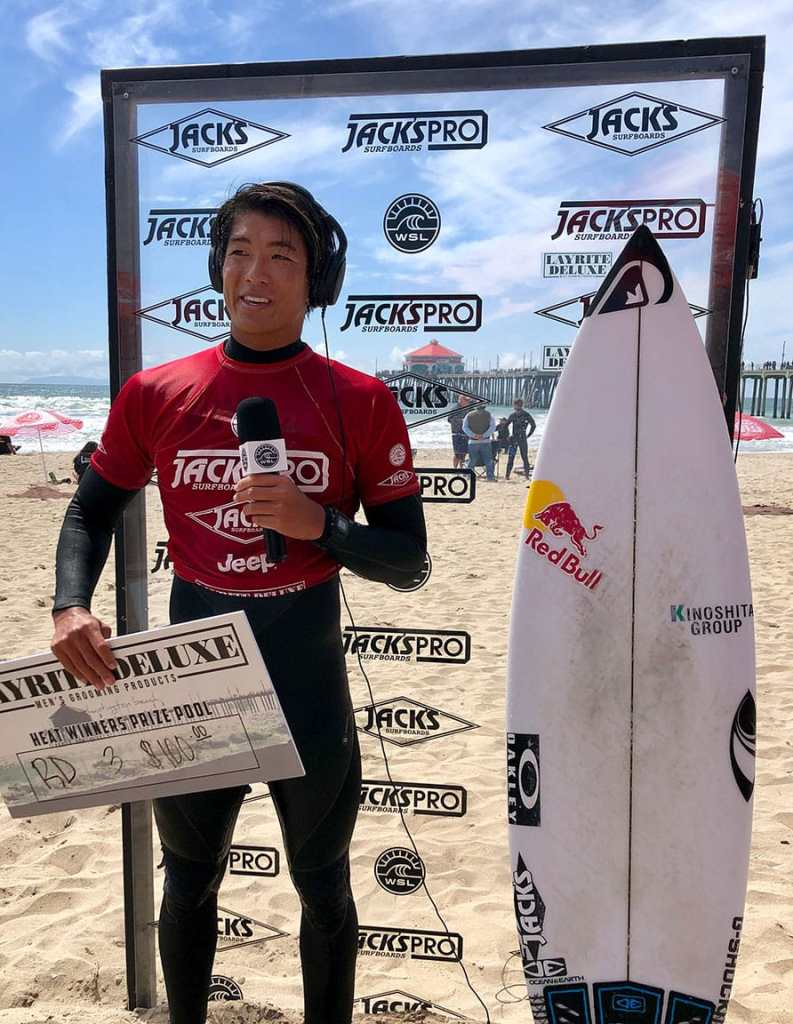Jack's team rider and local boy Kanoa Igarashi at the Jack's Pro