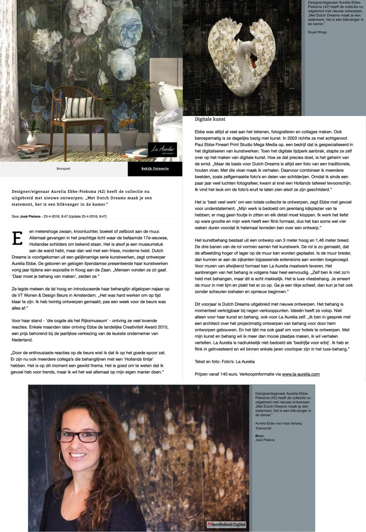 Interview Aurelia Ebbe (La Aurelia) in het Noordhollands Dagblad