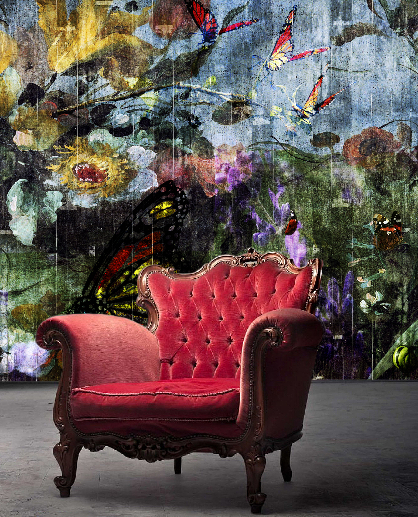 Butterfly Garden, a wallpaper from the Dutch Dreams wallpaper collection by La Aurelia