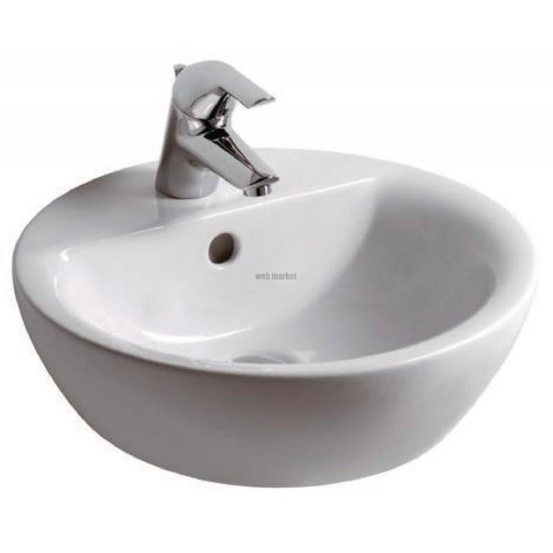 Vasque Ronde A Poser Connect Diametre 43cm Gres Blanc Ref E804001 La Centrale Pro