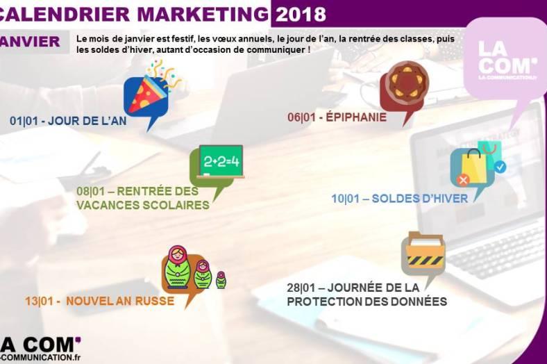 calendrier Marketing janvier 2018