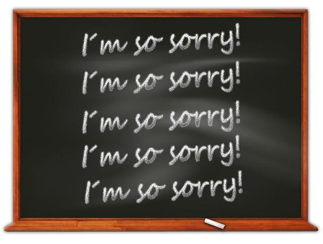 Désolé écrit sur un tableau
