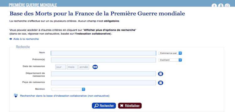indexation base de données des morts pour la France de la Première Guerre mondiale