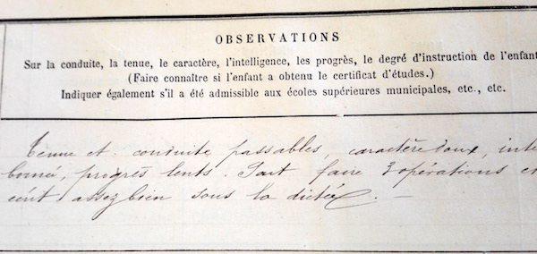 Registre matricule scolaire - Archives de Paris - cote 2615W 5