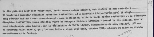 Archives de Paris - 10e ardt - Décès (18 mai-13 juin 1927) cote 10D 417