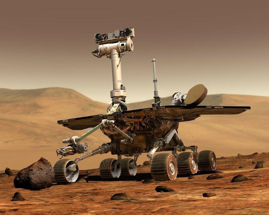 vehículo no tripulado en la superficie de Marte