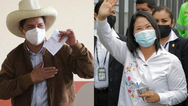Fotos de Keiko Fujimori y Pedro Castillo votando