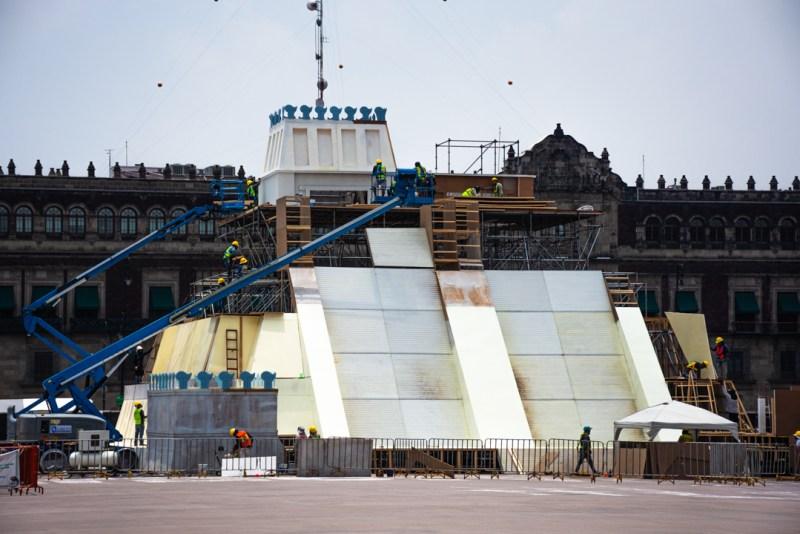 Construcción de Maqueta del templo mayor en el Zocalo de la CDMX 500 años de conmemoración de la conquista