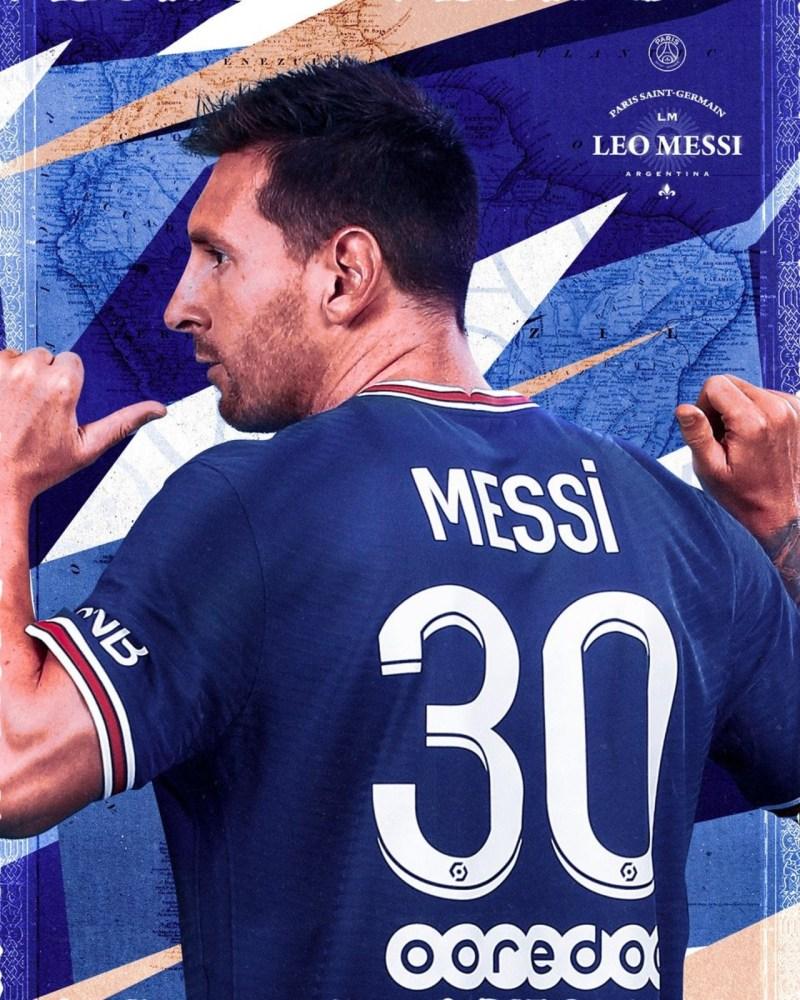 Foto de Messi con la casaca del PSG luciendo 30 de su camiseta
