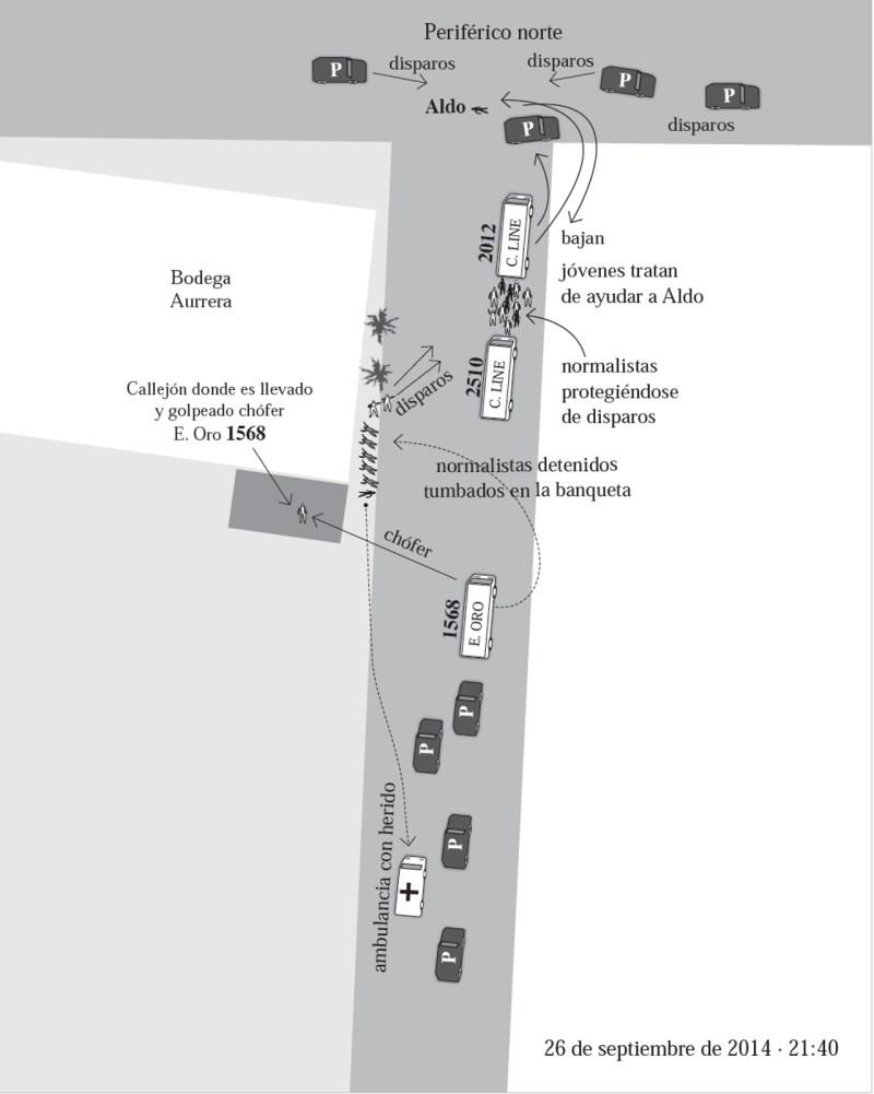 Foto de uno de los mapas hechos por el GIEI para ilustrar nota sobre el caso ayotzinapa