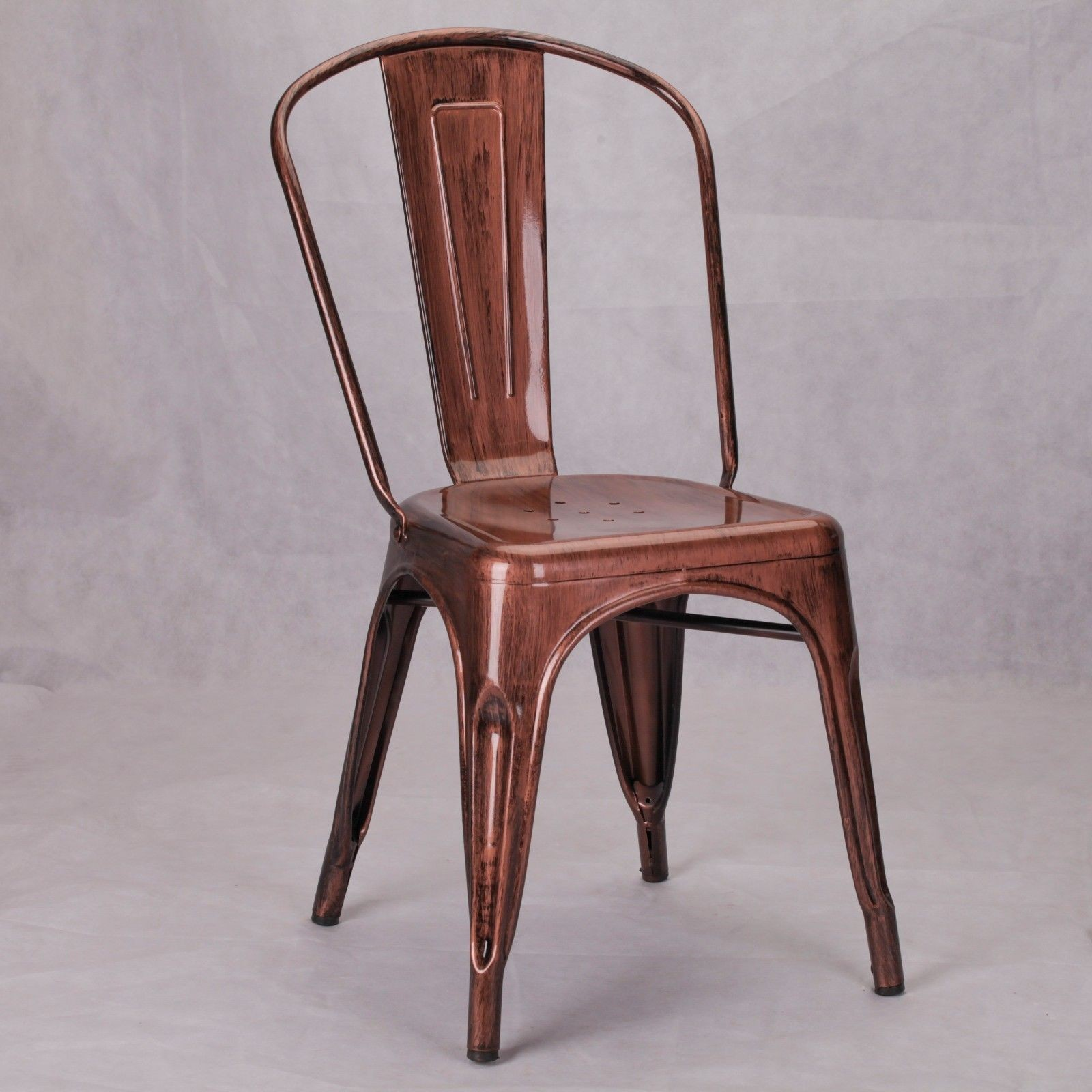 Metal Chairs Vintage Tolix Style Metal Copper Bronze Industrial Cafe Dining Chair