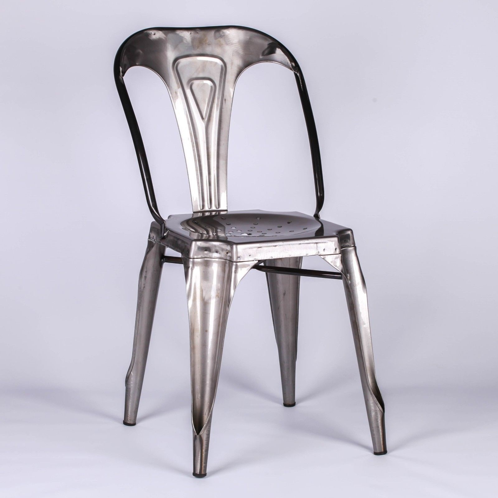 Metal Dining Chairs Industrial Tolix Inspired Industrial Style Cafe Metal Dining Chair