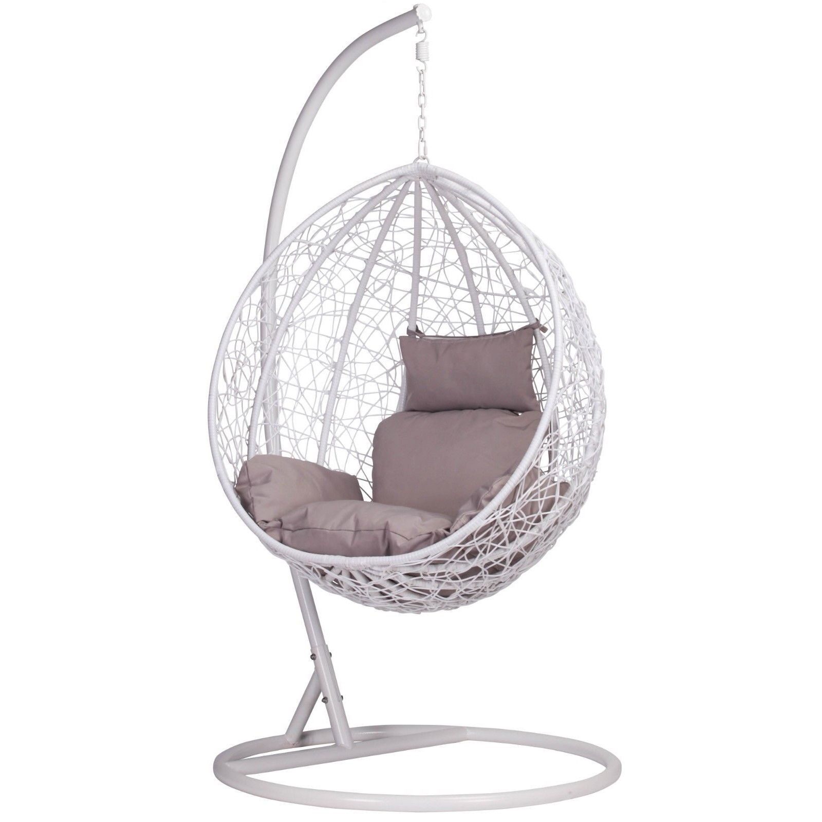 Egg Basket Chair White Rattan Swing Weave Patio Garden Hanging Egg Chair