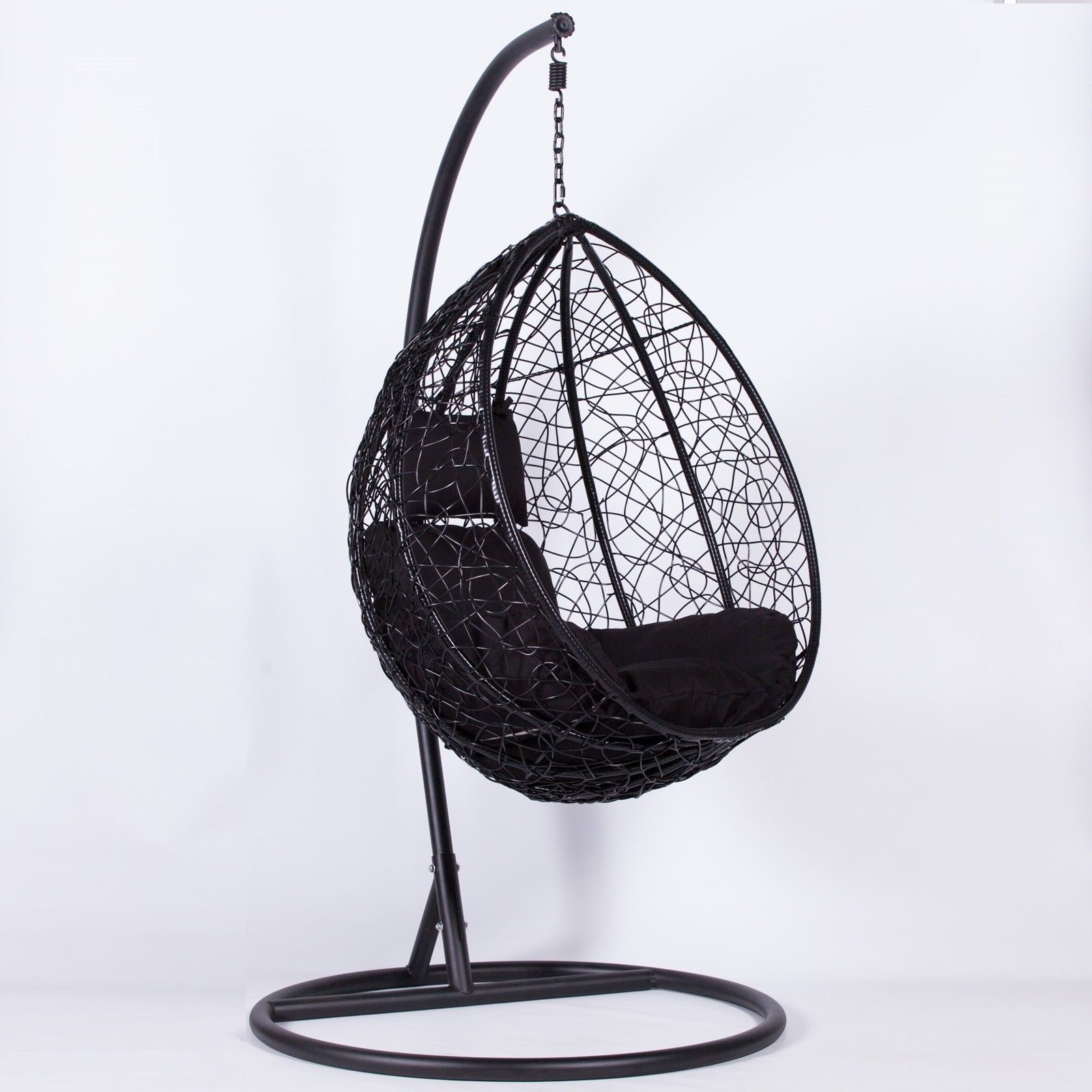 Black Hanging Chair Rattan Black Swing Weave Patio Garden Hanging Egg Chair