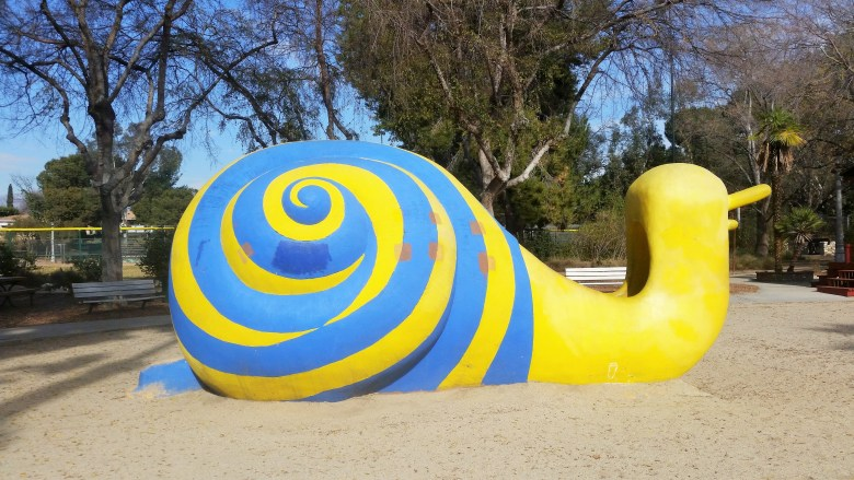 Snail slide at Laguna San Gabriel playground in Los Angeles. Perfect for Under The Sea Party