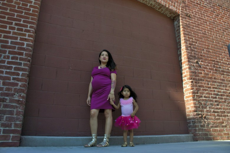 Mommy and Me Maternity Photoshoot with Pink Dresses