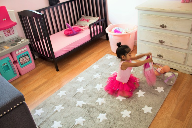 Pink and Gray Girls Room