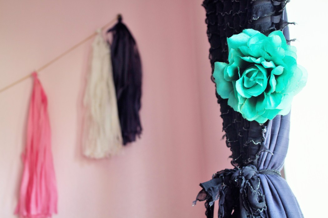 Pretty pink and black girls room