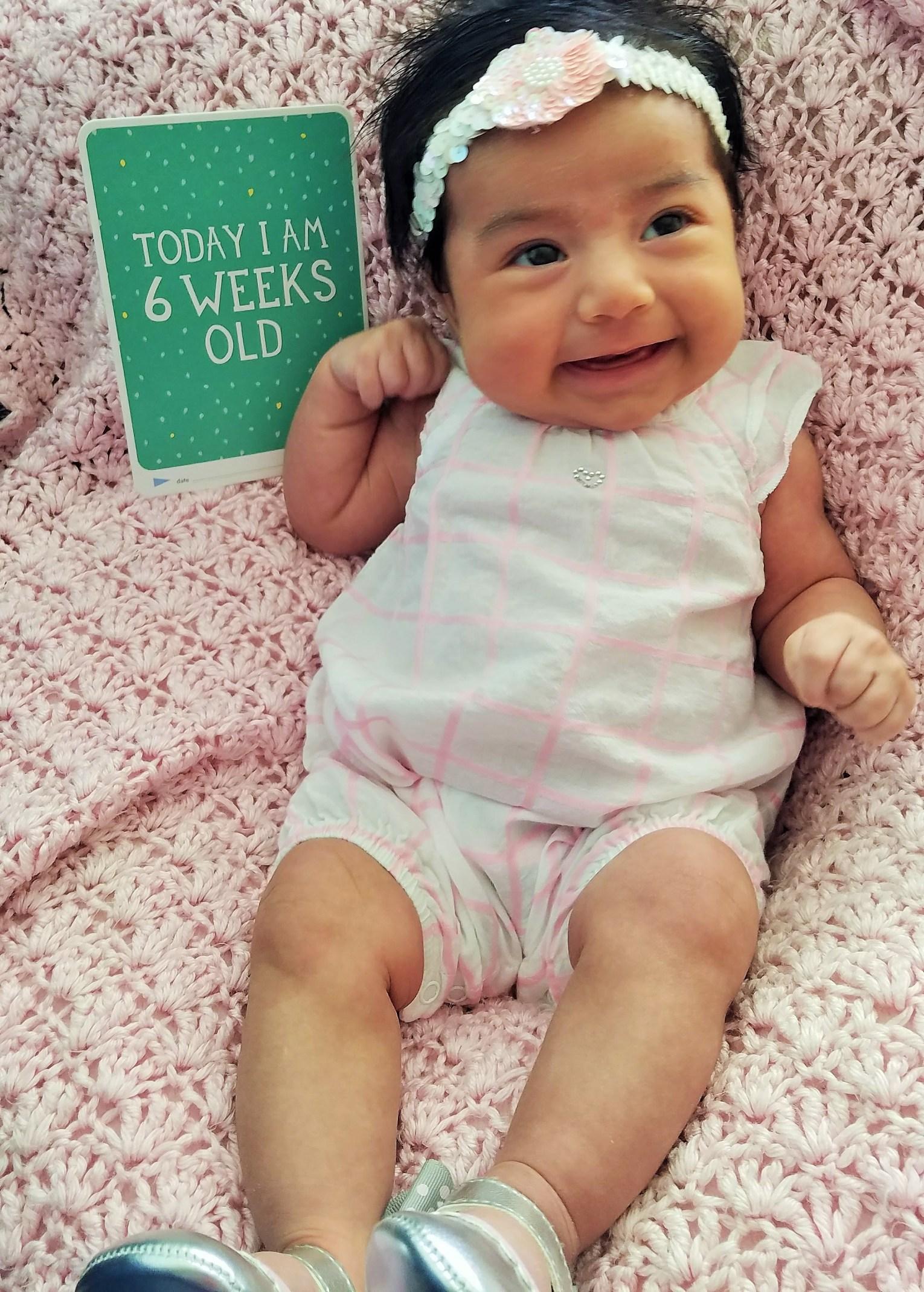 Milestone Baby Cards 6 weeks old
